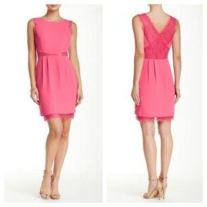 [BCBG Maxazria] Lace Back Cutout Sheath Dress